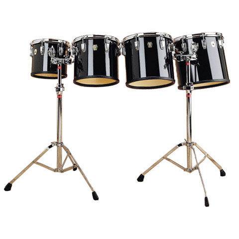 "Ludwig 6/8/10/12"" Concert Toms with Stands with Black Cortex Wrap Finish"