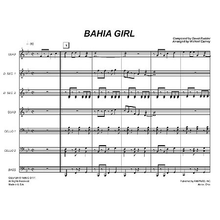 Bahia Girl by David Rudder arr. Michael Carney