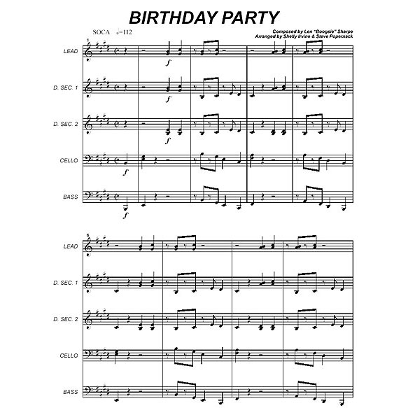"Birthday Party by Len ""Boogsie"" Sharpe arr. Shelly Irvine & Steve Popernack"