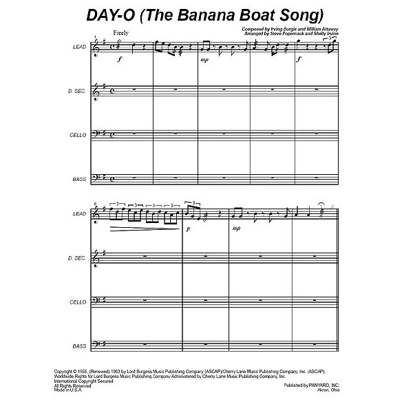 Day-O (The Banana Boat Song) by Irving Burgie & William Attaway arr. Steve Popernack & Shelly Irvine