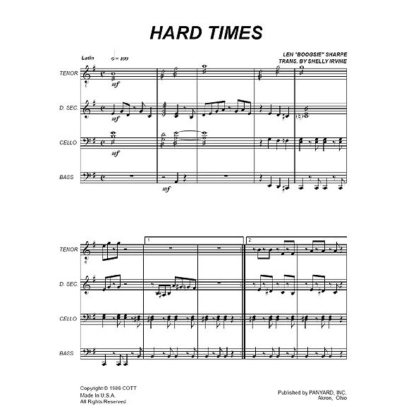 "Hard Times by Len ""Boogsie"" Sharpe arr. Shelly Irvine"