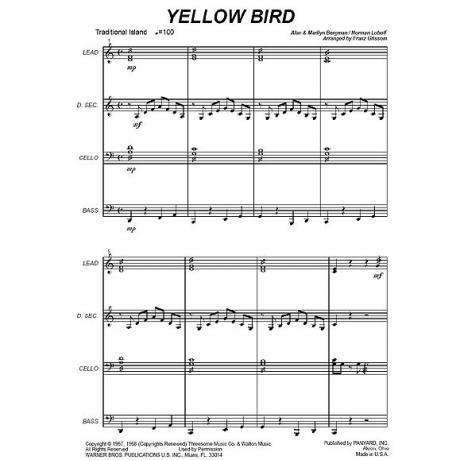 Yellow Bird by Luboff & Bergman arr. Franz Grissom