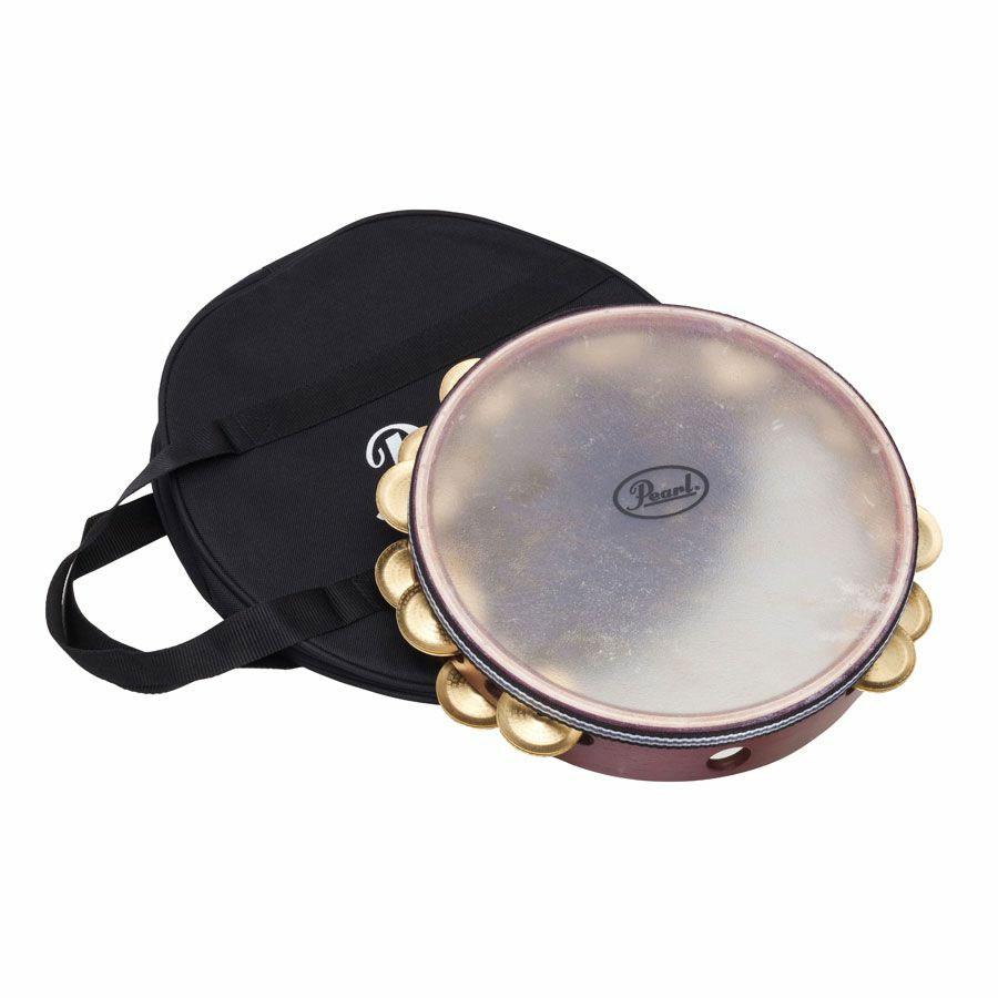 "Pearl 10"" Symphonic Stamped Brass Tambourine (Natural Head)"