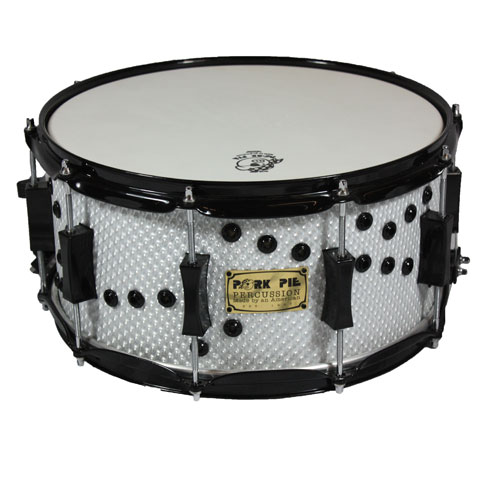"Pork Pie 7"" x 14"" White Honeycomb Snare Drum with Bullet Holes and Black Hardware"