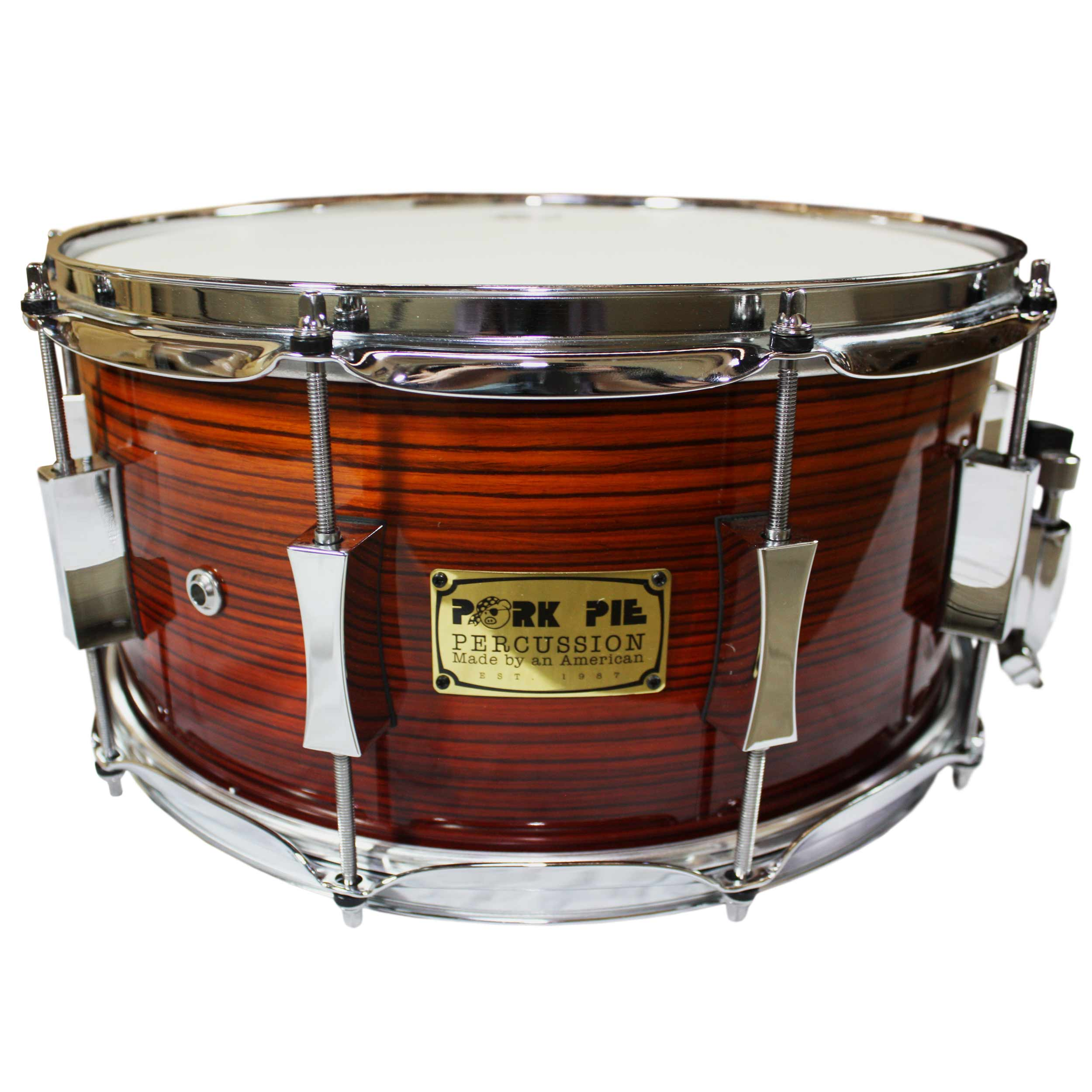 "Pork Pie 7"" x 14"" Zebra Wood Custom Snare Drum"