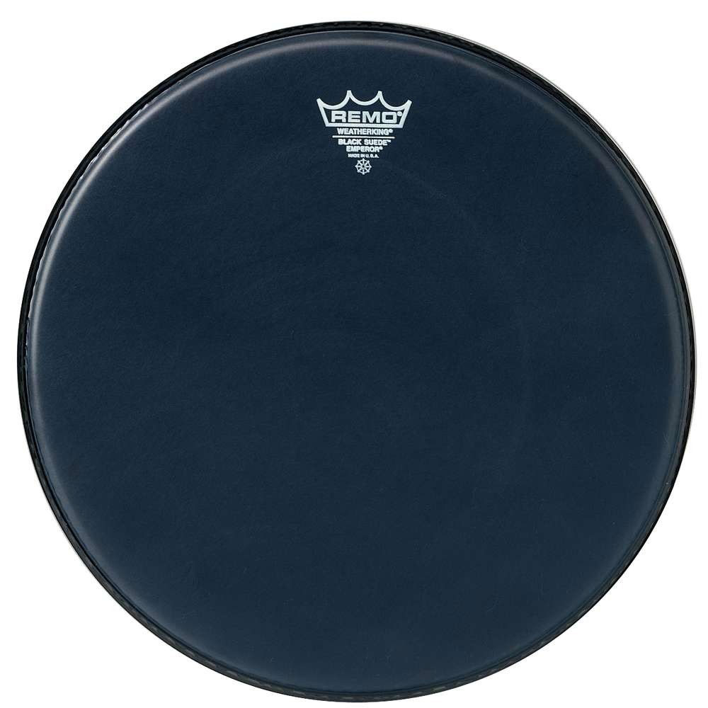 "Remo 14"" Emperor Black Suede Crimplock Marching Tenor Drum Head"