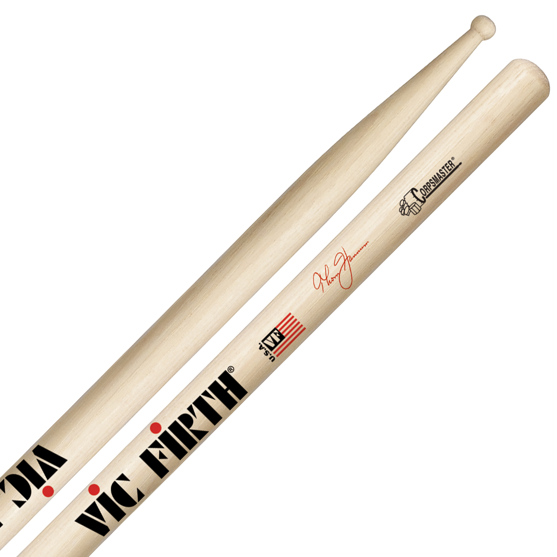 Vic Firth STH3 Thom Hannum Piccolo Tip Corpsmaster Signature Marching Snare Sticks