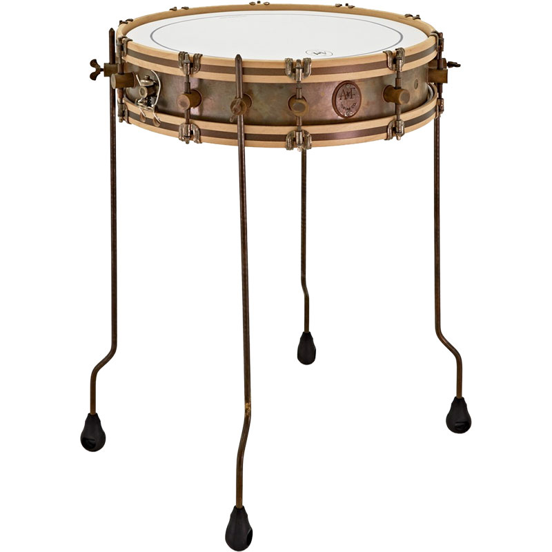 "A&F Drum Co. 4"" x 18"" Gun Shot Snare Drum with Wood Hoops and Floor Tom Legs"