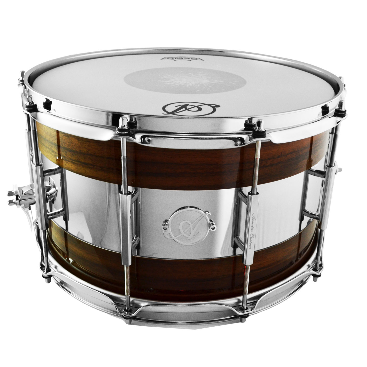 "Acoutin 8"" x 14"" Queensland Walnut & Polished Stainless Steel Snare Drum"
