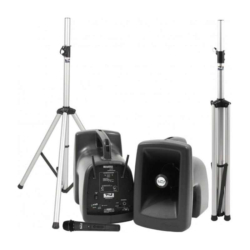 Anchor Audio MegaVox Deluxe AIR Package 1 Includes MEGA2-XU2, MEGA2-AIR, Two Stands, and Wireless Headband Microphone