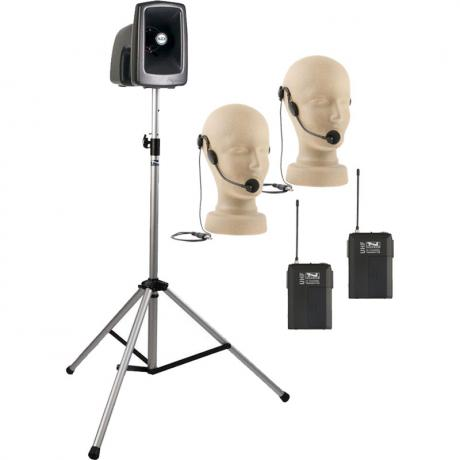 Anchor Audio MegaVox Basic Package 2 Includes MEGA2-U2 PA System, SS-550 Stand, and Two Wireless Headband Microphones with Belt Packs