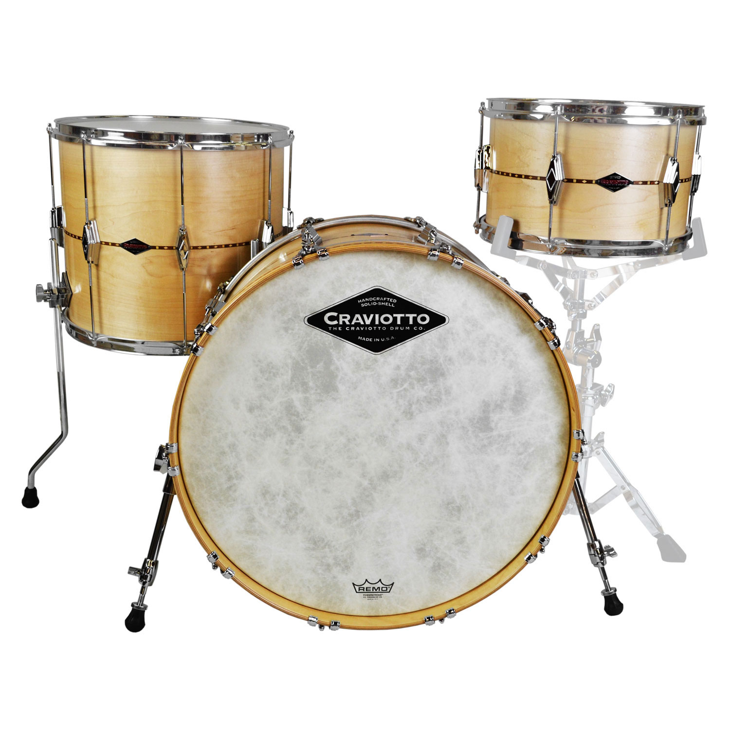 "Craviotto Center Stage Solid Maple 3-Piece Drum Set Shell Pack (22"" Bass, 13/16"" Toms) with Walnut Inlays"