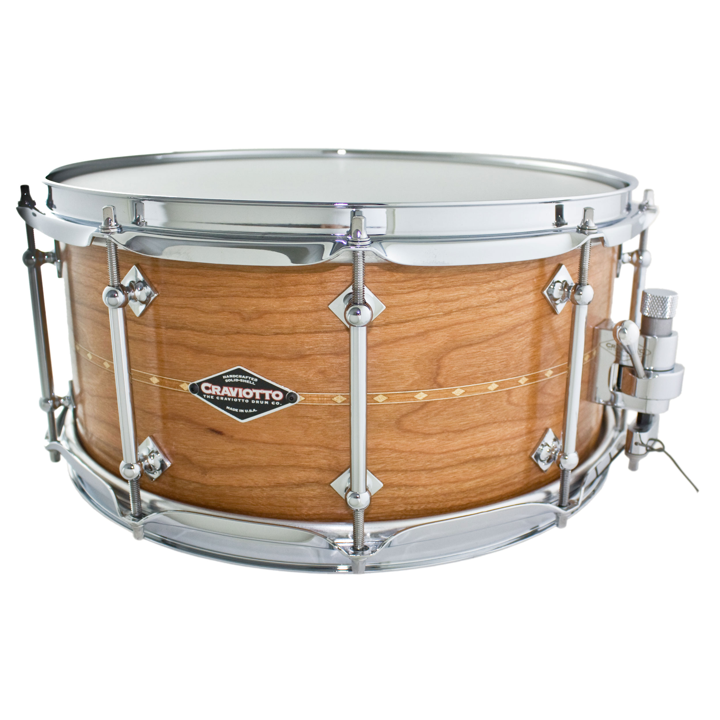 "Craviotto 6.5"" x 14"" Custom Shop Solid Shell Cherry Snare Drum with Inlay"