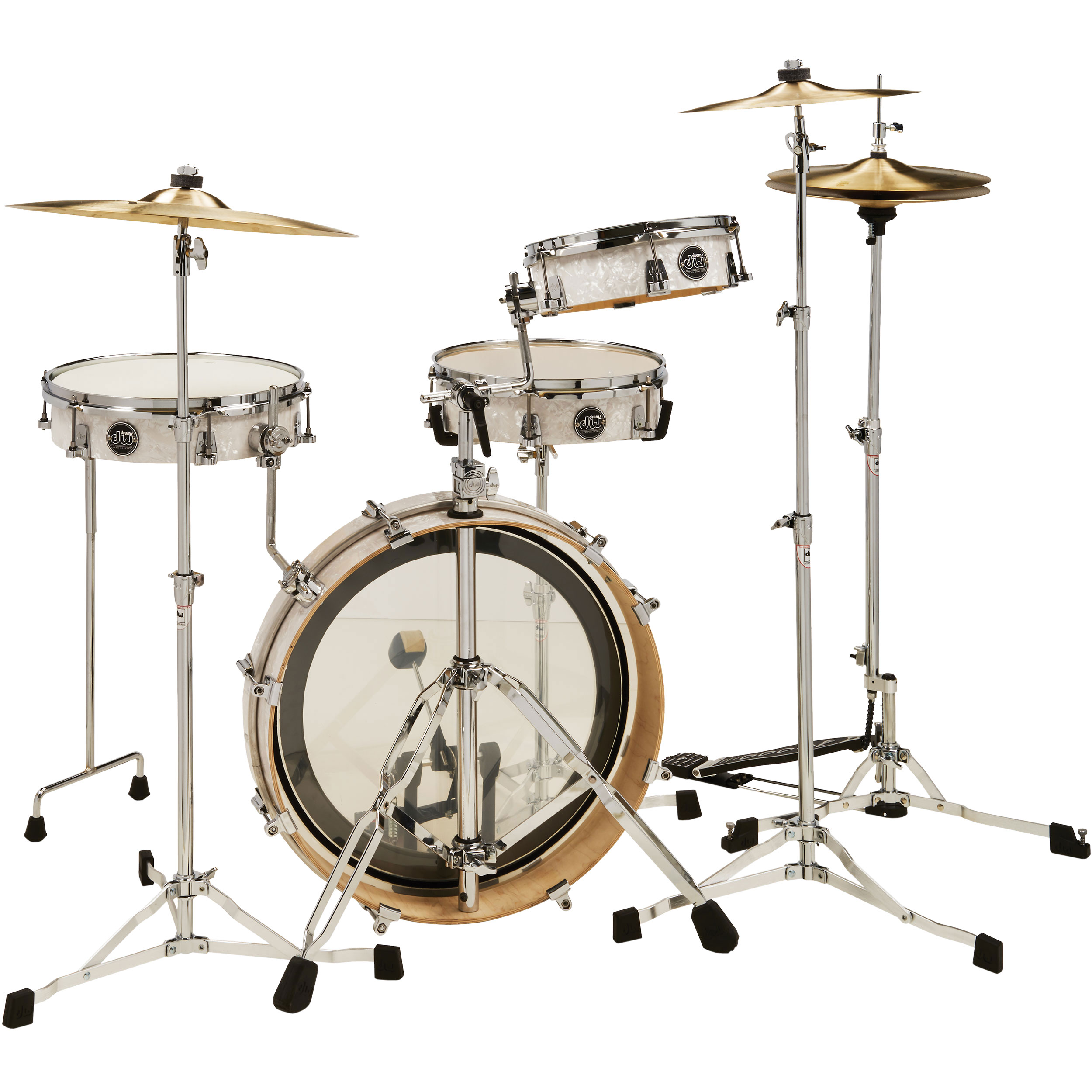 "DW Performance 4-Piece LowPro Travel Drum Set (20"" Bass, 10/13"" Toms, 12"" Snare)"
