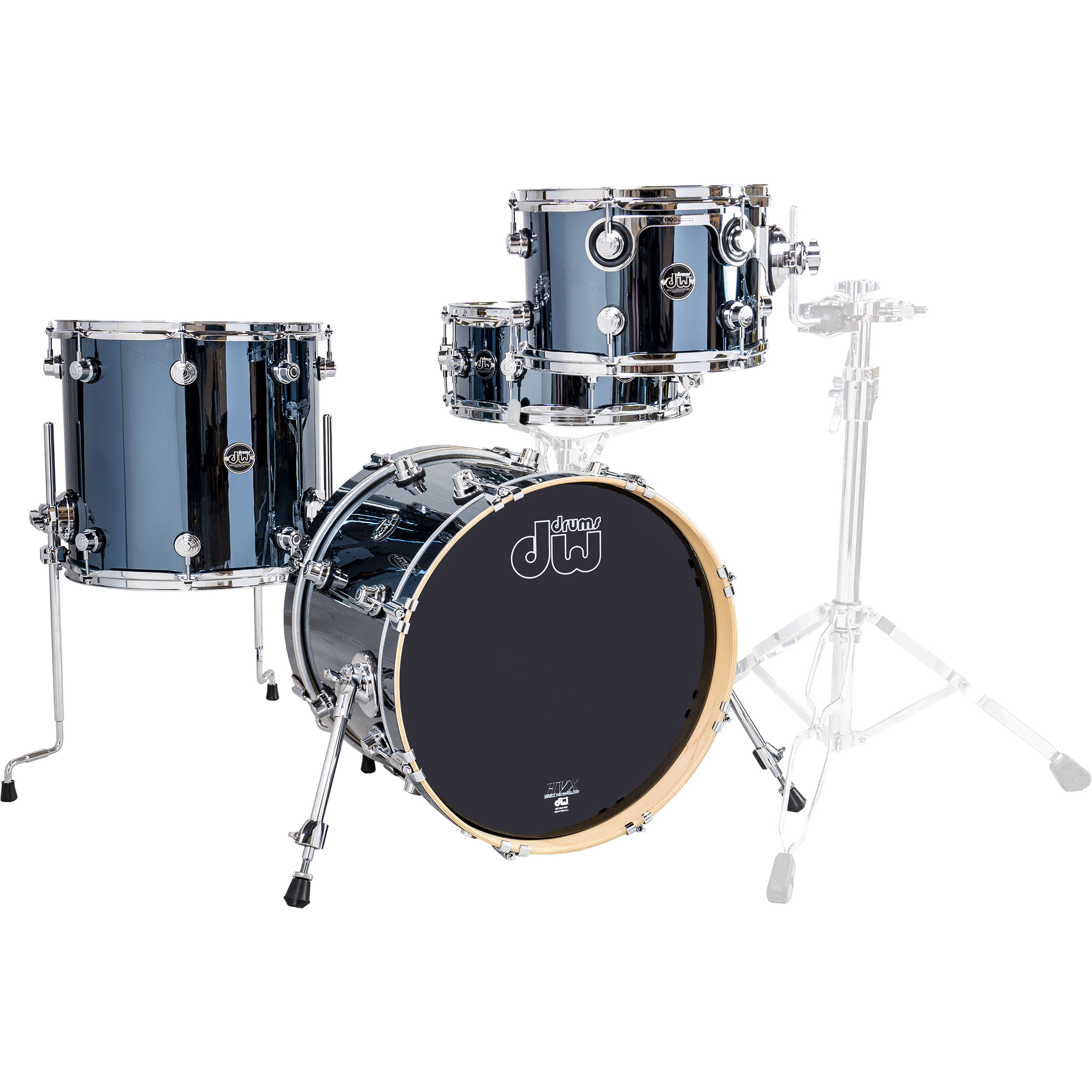 """DW Performance Series 4-Piece Drum Set Shell Pack (18"""" Bass, 12/14"""" Toms, 14"""" Snare) in Chrome Shadow"""