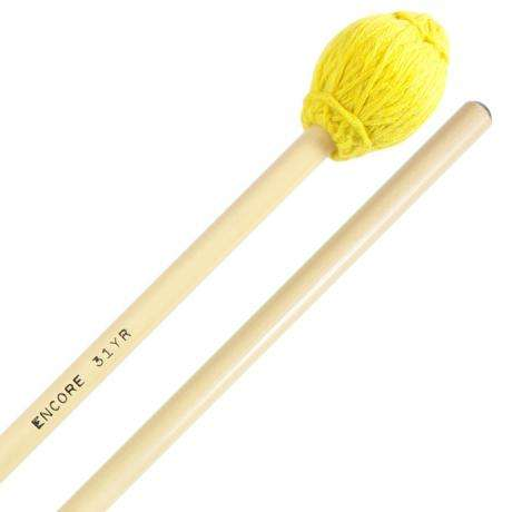 Encore Yellow Hard Yarn Wound Keyboard Mallets with Rattan Shafts