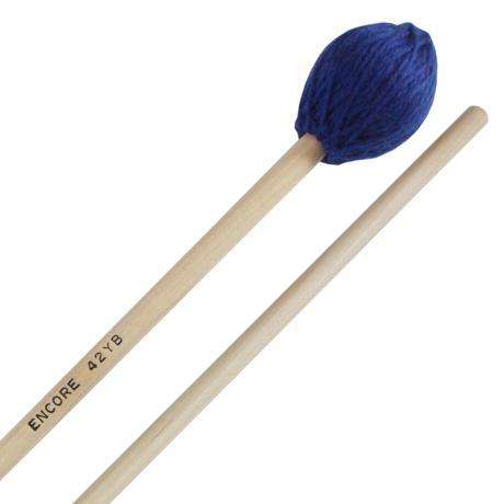 Encore Blue Med-Hard Yarn Wound Keyboard Mallets with Birch Shafts