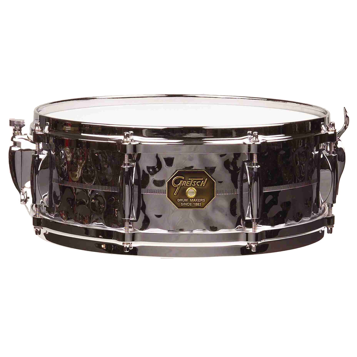 "Gretsch 5"" x 14"" USA Metal Hammered Chrome Over Brass Snare Drum"