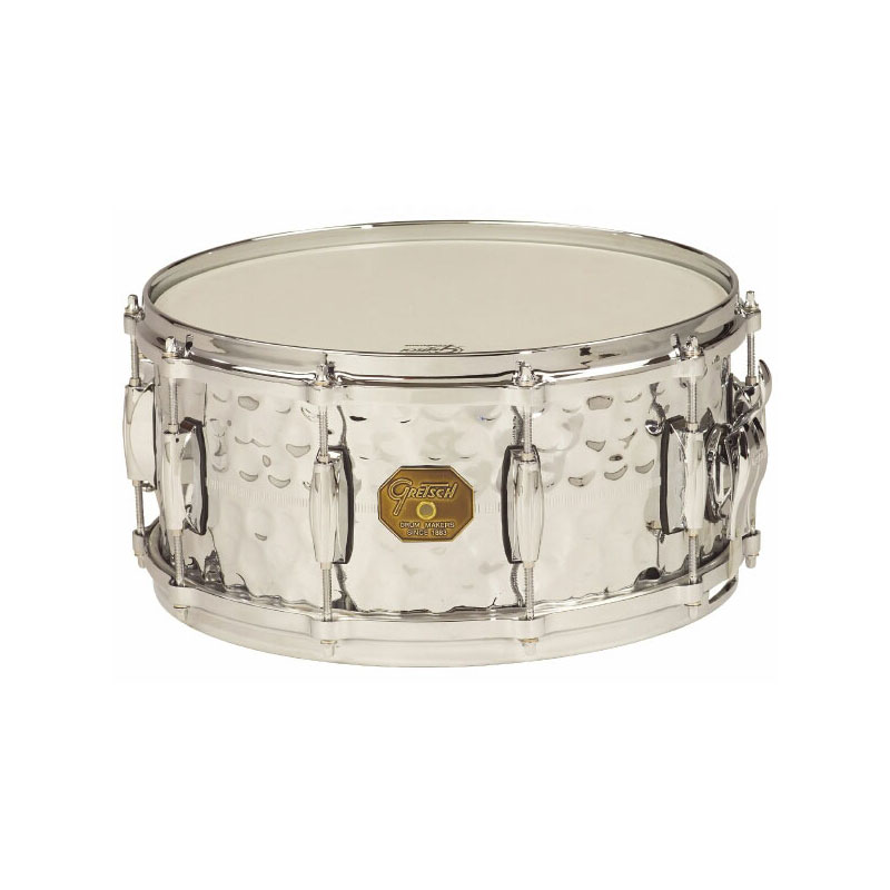 "Gretsch 6.5"" x 14"" USA Metal Hammered Chrome Over Brass Snare Drum"