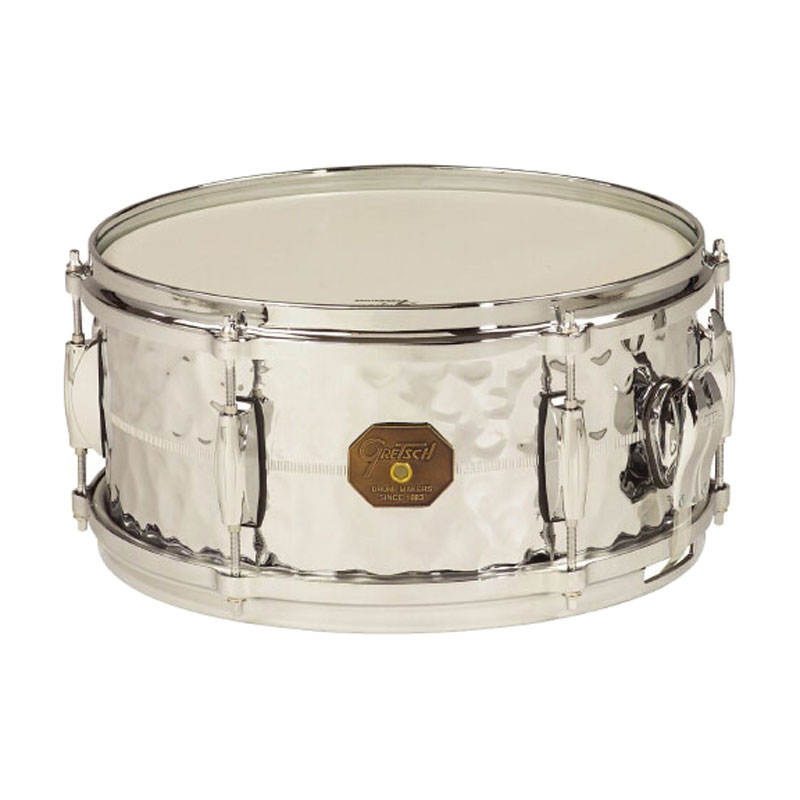 "Gretsch 6"" x 13"" USA Metal Hammered Chrome Over Brass Snare Drum"