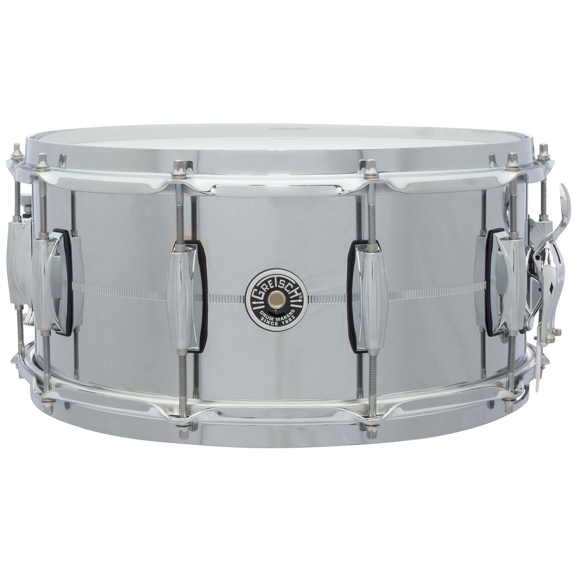 "Gretsch 6.5"" x 14"" USA Brooklyn Metal Chrome Steel Snare Drum"