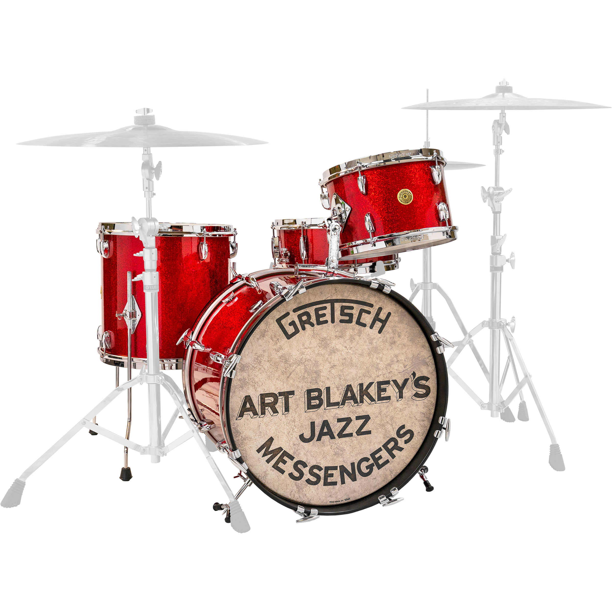 """Gretsch USA Custom Art Blakey Replica Drum Set Shell Pack (20"""" Bass, 12/14"""" Toms, 14"""" Snare) in Red Sparkle"""