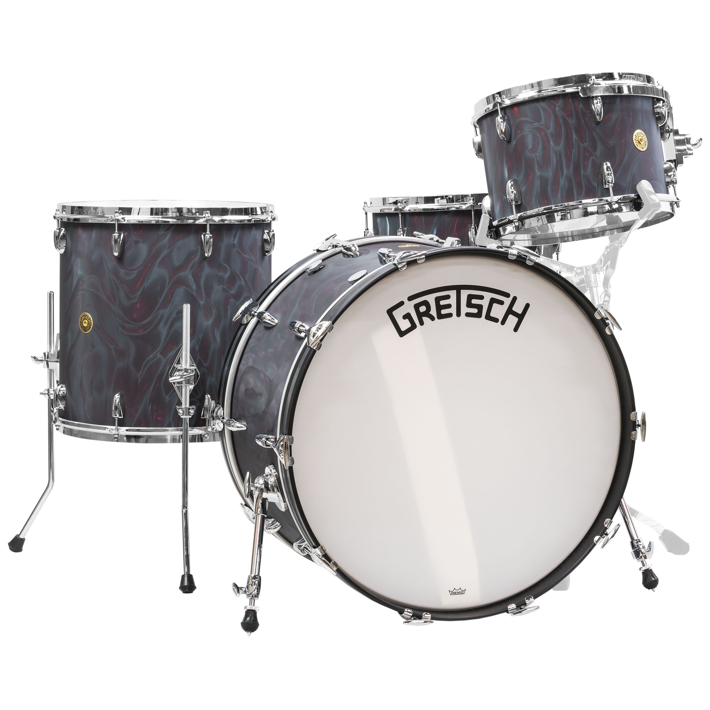 """Gretsch Broadkaster 4-Piece Drum Set Shell Pack (24"""" Bass, 13/16"""" Toms, 6.5 x 14"""" Snare) in Black Satin Flame"""