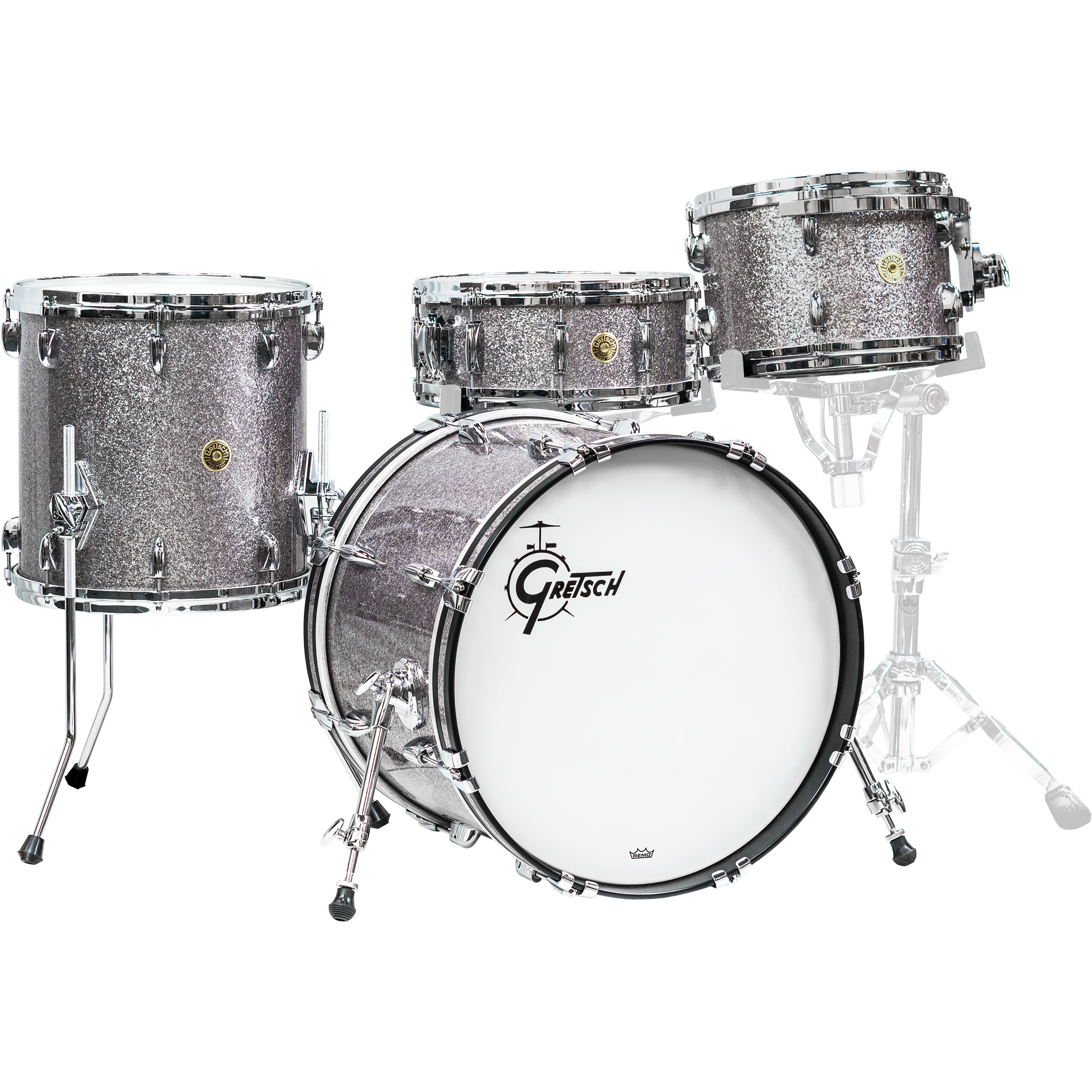 """Gretsch USA Custom 4-Piece Drum Set Shell Pack (20"""" Bass, 12/14"""" Toms, 14"""" Snare) in Pewter Sparkle"""