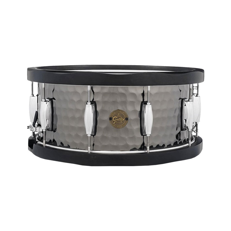 "Gretsch 6.5"" x 14"" Full Range Hammered Steel Snare Drum with Wood Hoops"