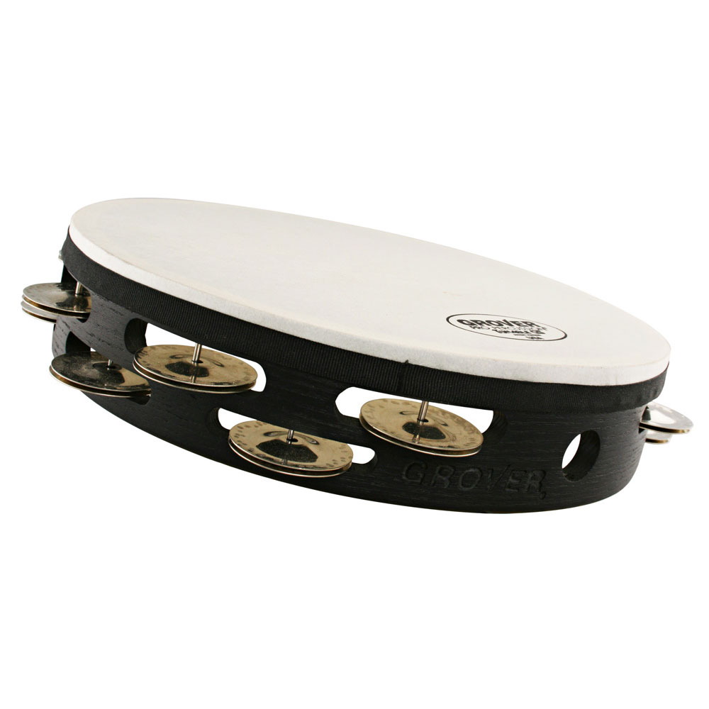 "Grover Pro 10"" Projection-Plus Double Row Tunable German Silver Tambourine (Natural Head)"