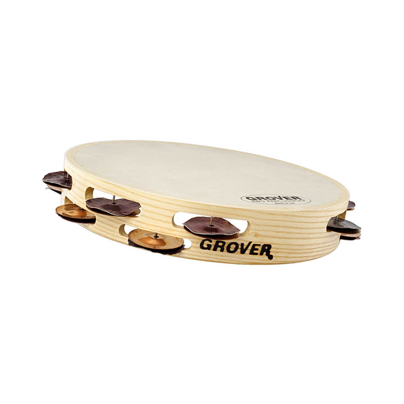 "Grover Pro 10"" Bantamweight Double Row Heat-Treated Silver & Phosphor Bronze Tambourine (Natural Head)"