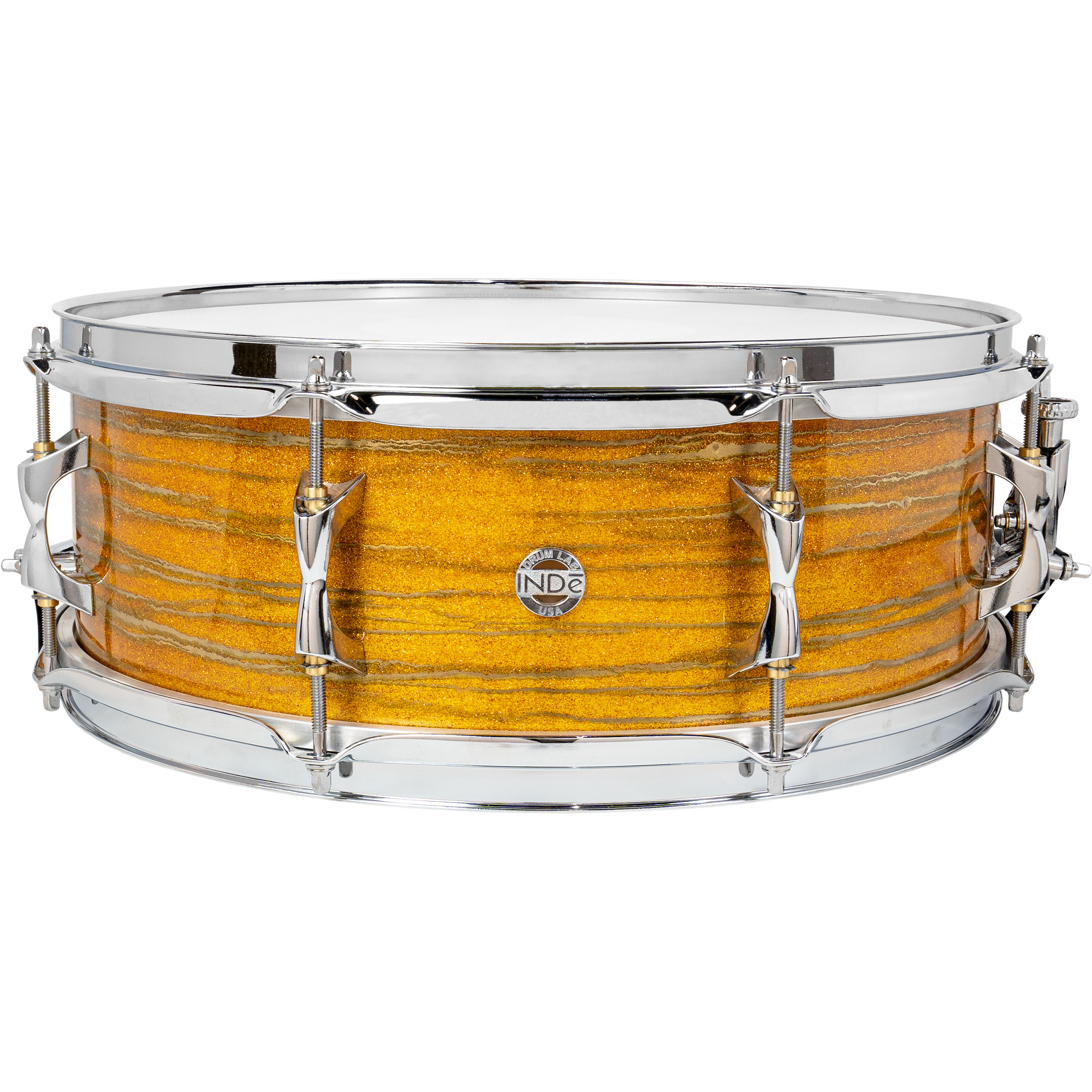 "Inde 5.5"" x 15"" ResoArmor Snare Drum in Yellow Sparkle with Gold Swirl (Demo)"
