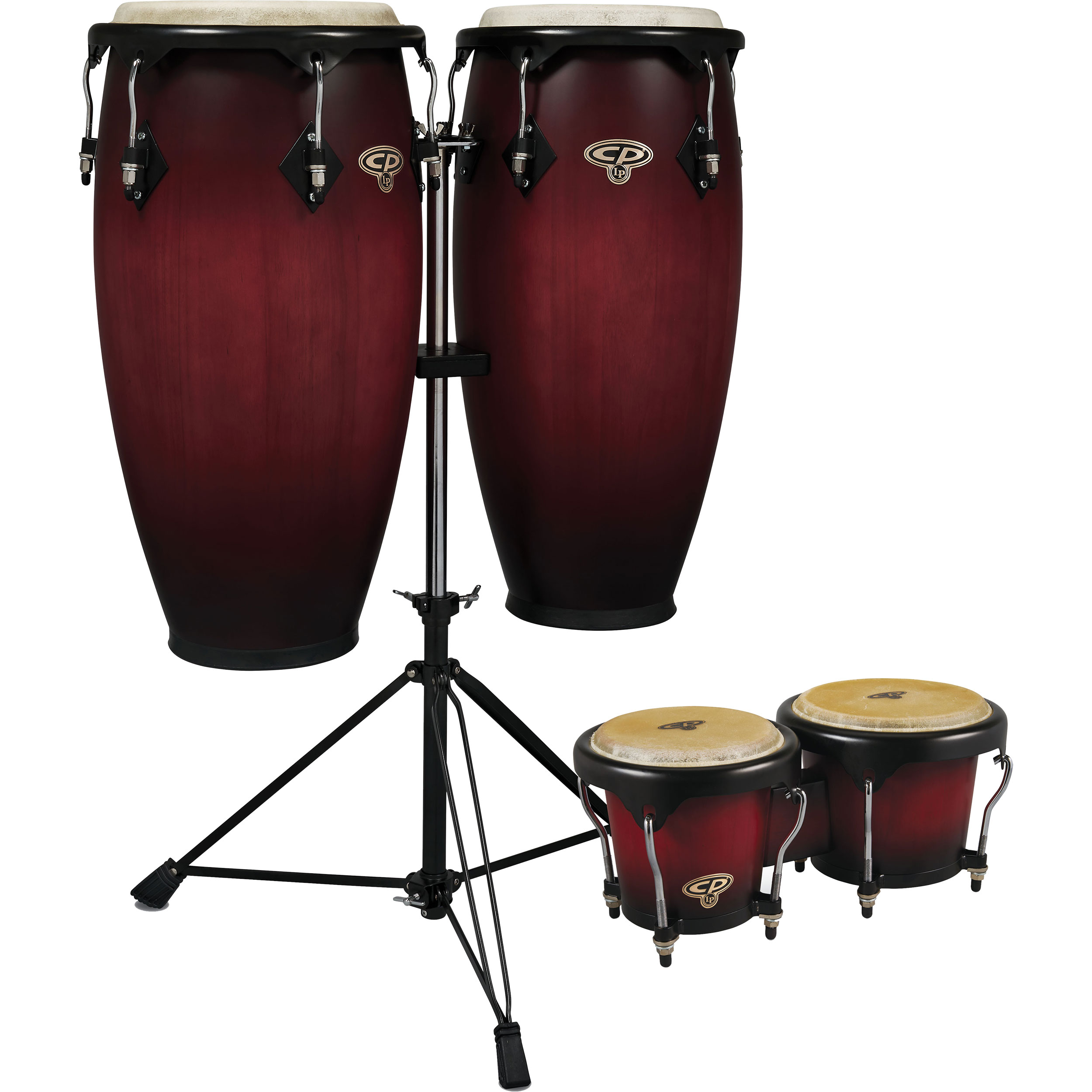 """LP 11"""" & 11.75"""" CP Conga Set with Bongos and Double Stand in Cherry Burst"""