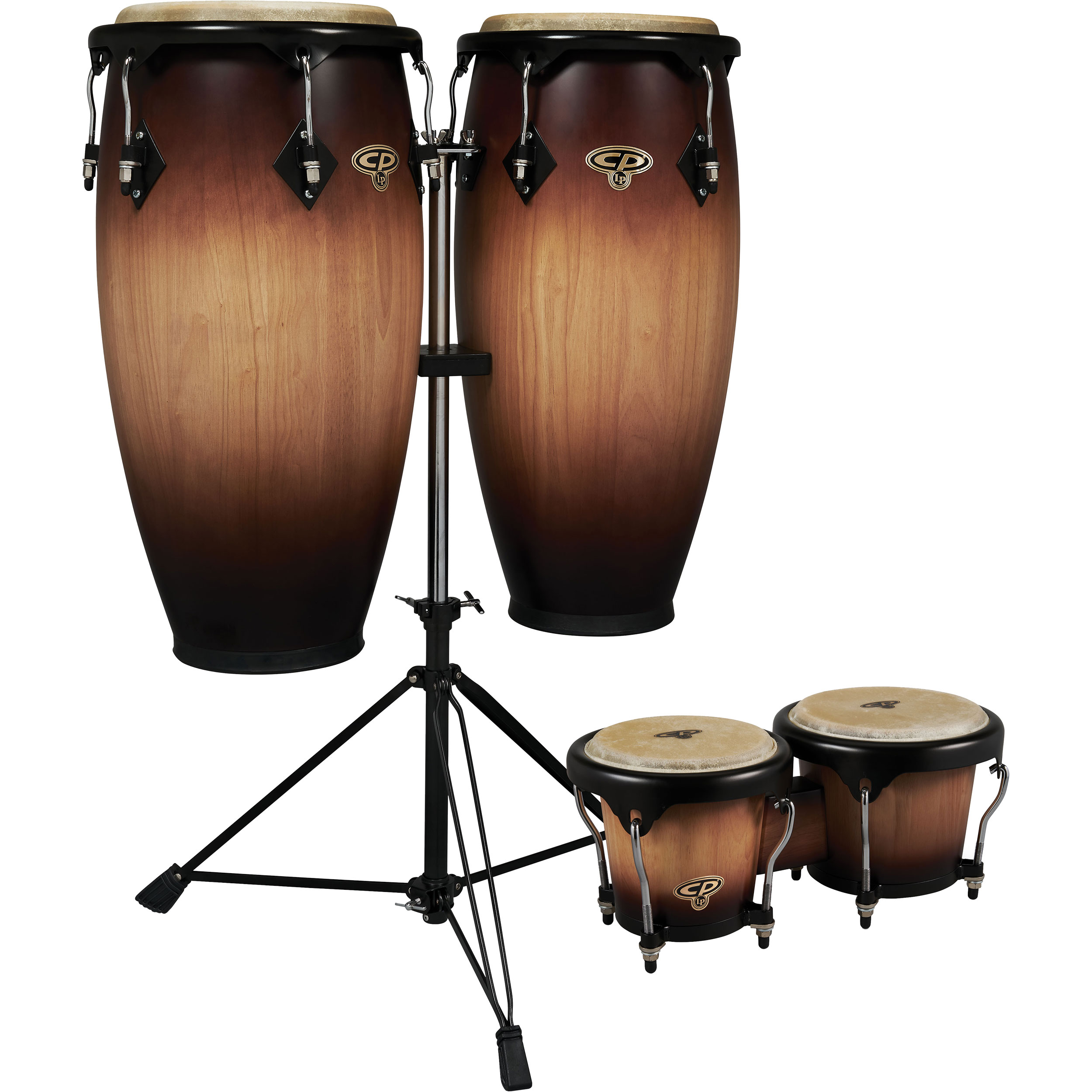 """LP 11"""" & 11.75"""" CP Conga Set with Bongos and Double Stand in Walnut Burst"""