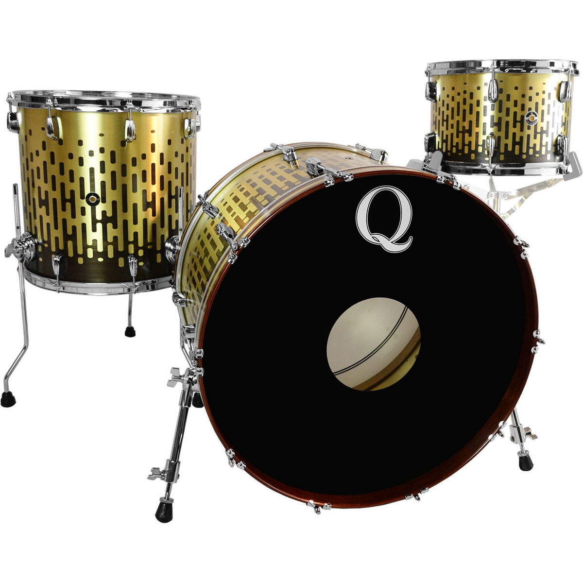 """Q Drum Co. Brass 3-Piece Drum Set Shell Pack (24"""" Bass, 13/16"""" Toms) in Gravity Illusion Etched Patina"""