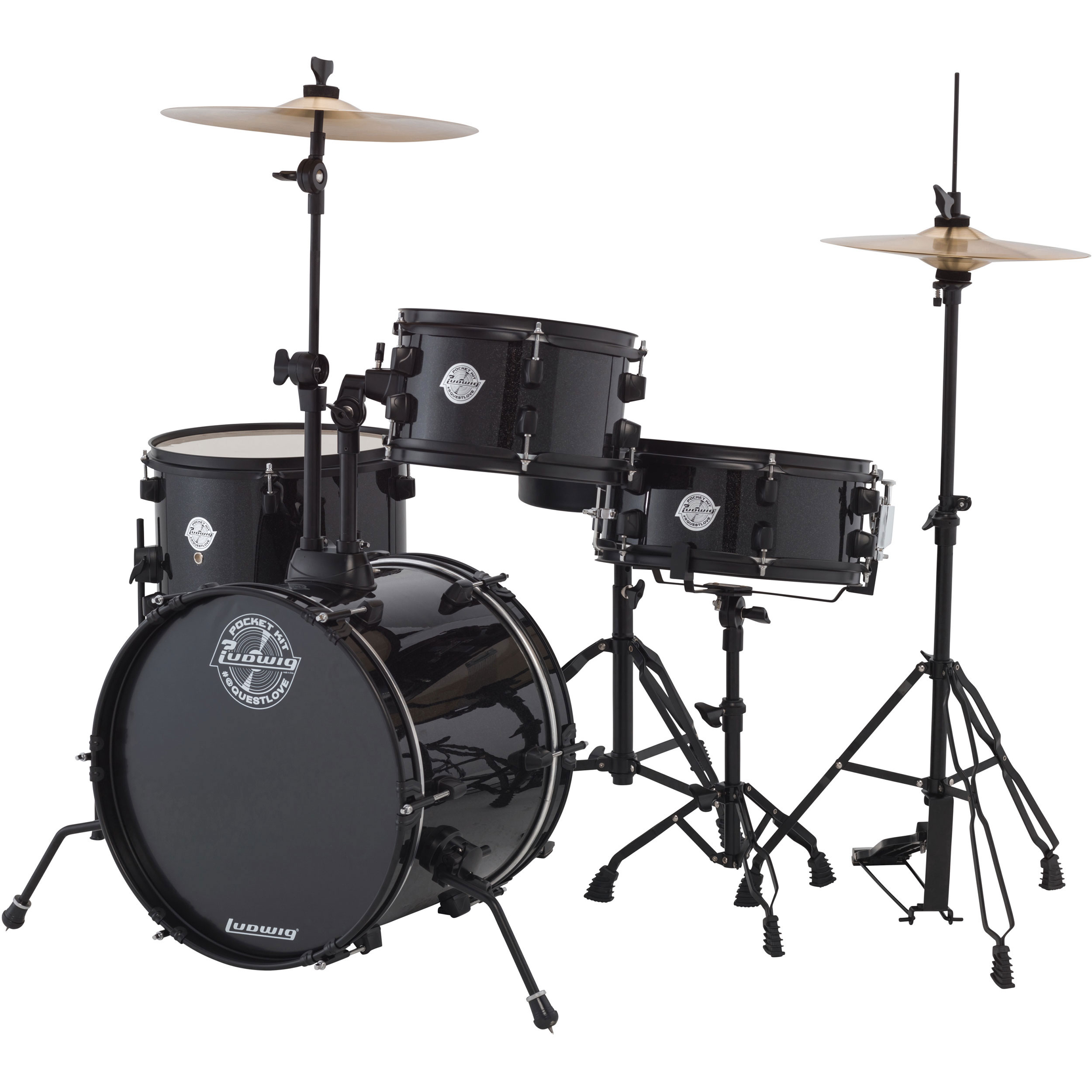"Ludwig Pocket Kit 4-Piece Drum Set with Hardware & Cymbals (16"" Bass, 10/13"" Toms, 12"" Snare)"