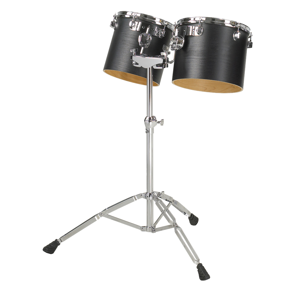 "Majestic 6"" & 8"" Single-Headed Concert Black Birch/Maple Concert Tom Set with Stand"
