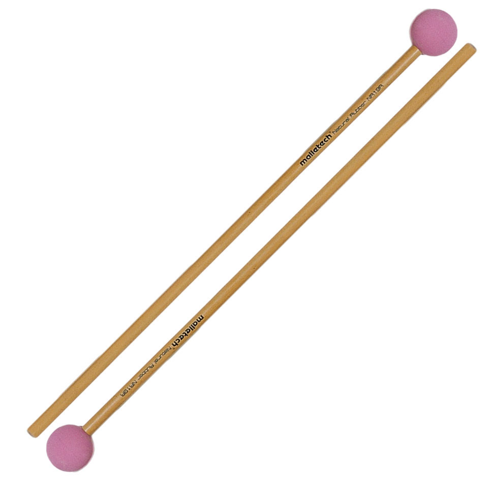 Malletech Natural Rubber Medium Hard Xylophone Mallets with Rattan Shafts