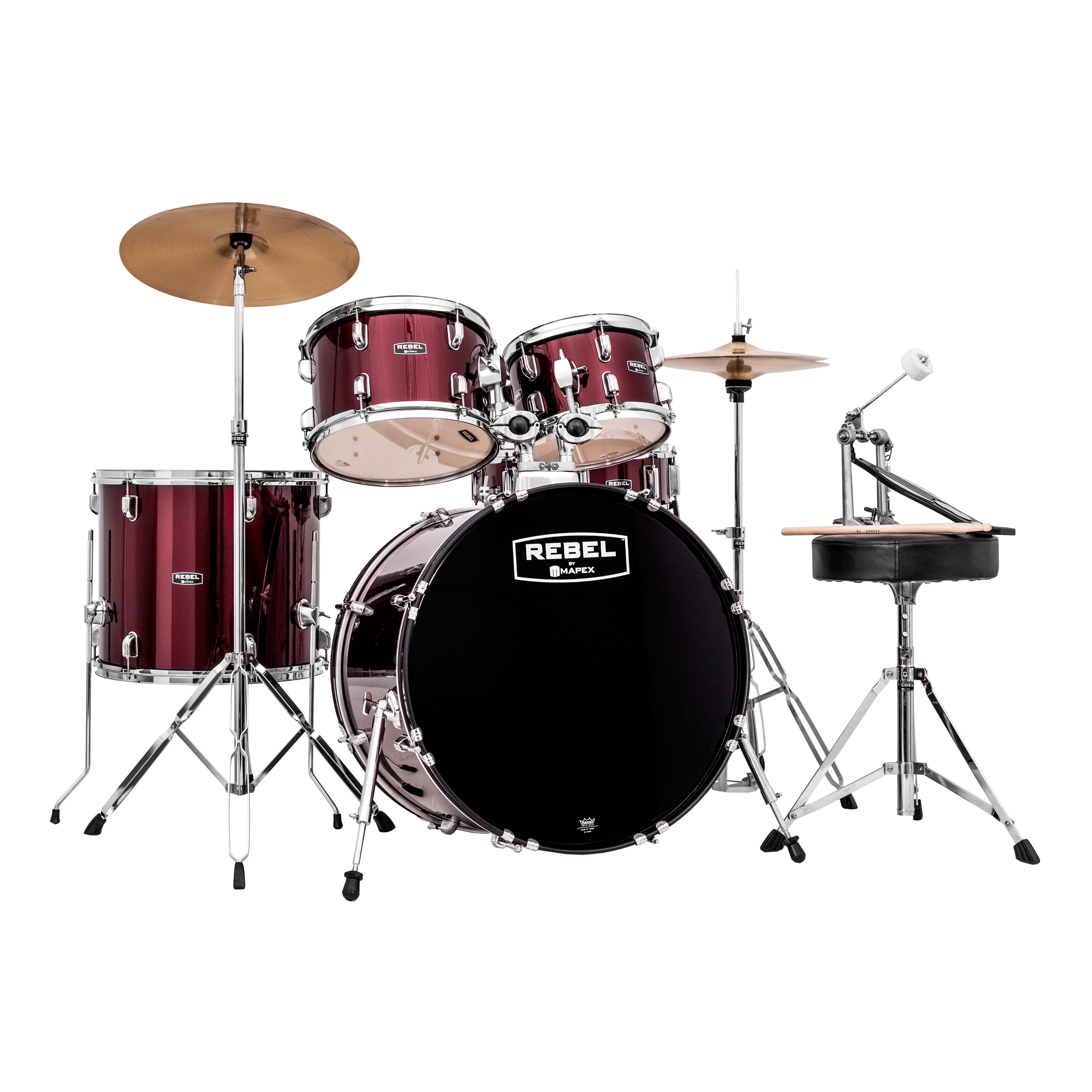 "Mapex Rebel 5-Piece Drum Set (20"" Bass, 10/12/14"" Toms, 14"" Snare) with Hardware and Cymbals"