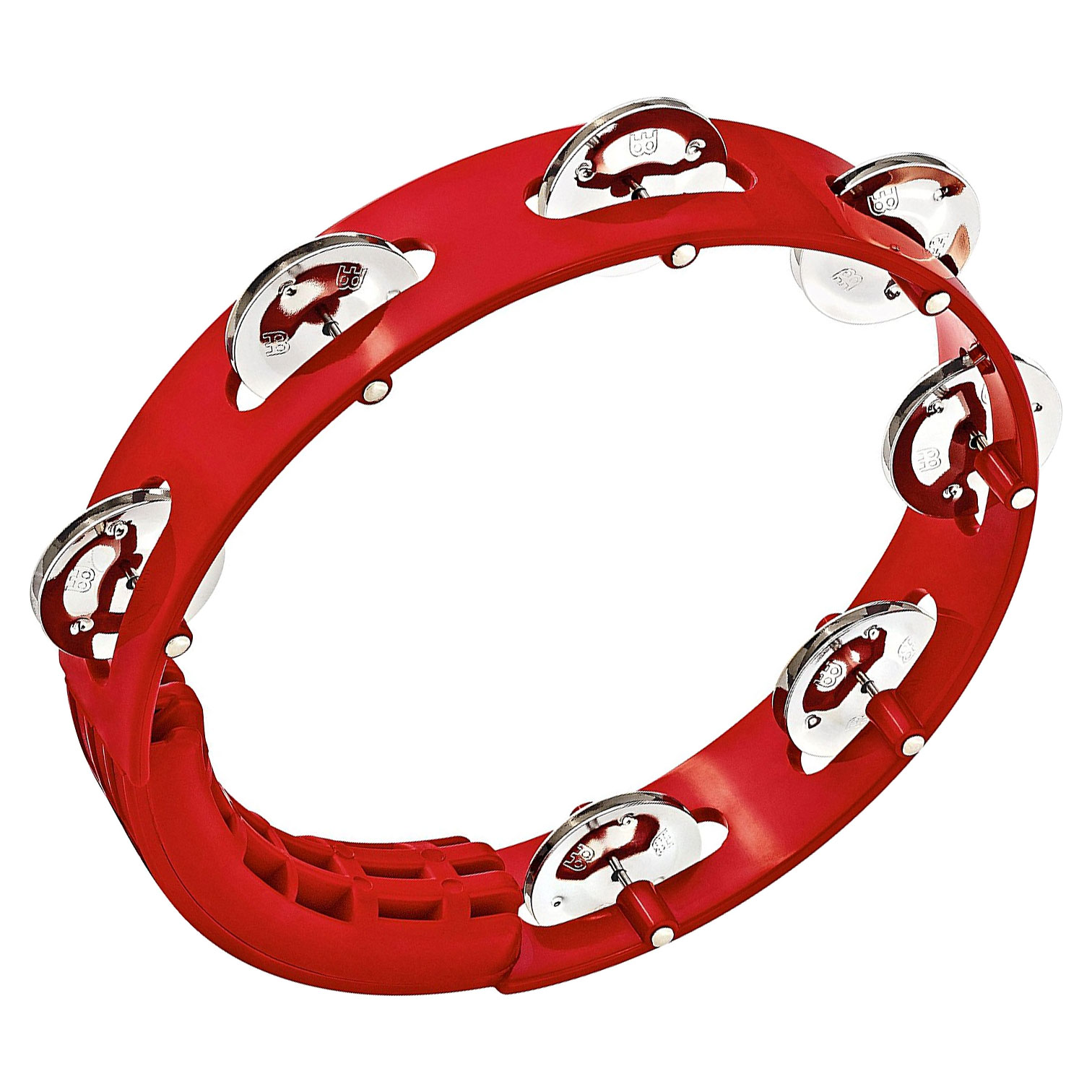 "Meinl 8"" Red Single Row Tour Tambourine with Steel Jingles"