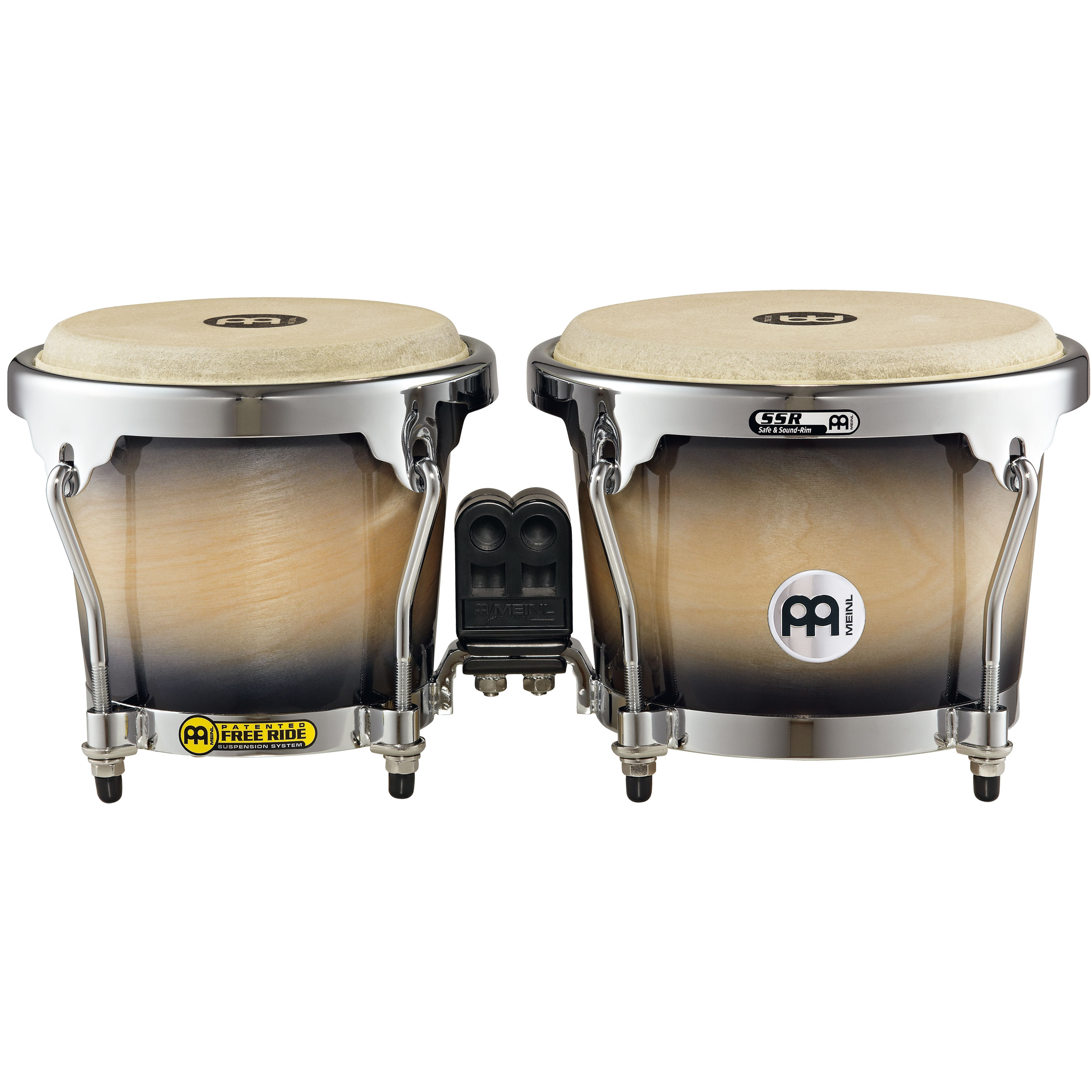 "Meinl 6.75"" & 8"" Radial Ply Construction (RAPC) Wood Bongos in Black Maple Burst"