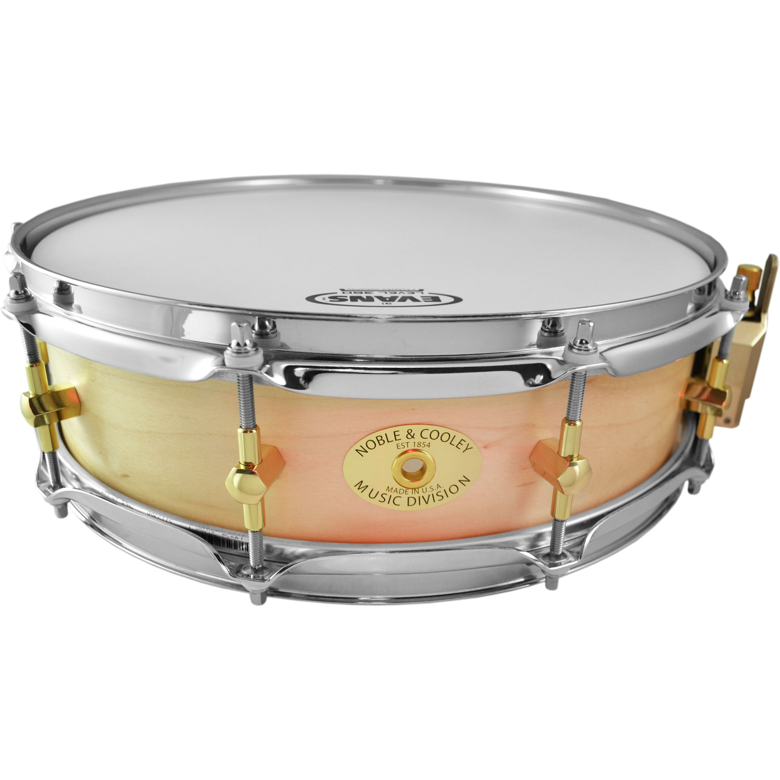 "Noble & Cooley 3-7/8"" x 14"" Classic Solid Shell Maple Piccolo Snare Drum in Clear Oil"