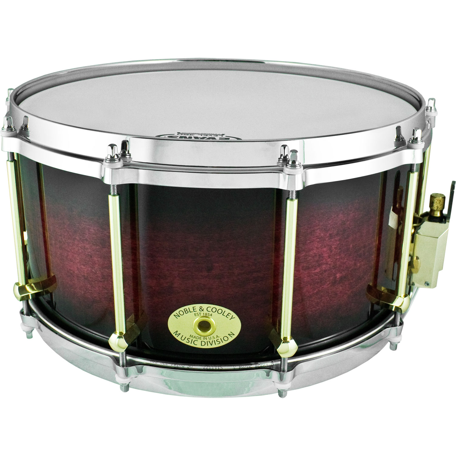 "Noble & Cooley 7"" x 14"" Classic Solid Shell Maple Snare Drum in Black Cherry Burst Gloss"