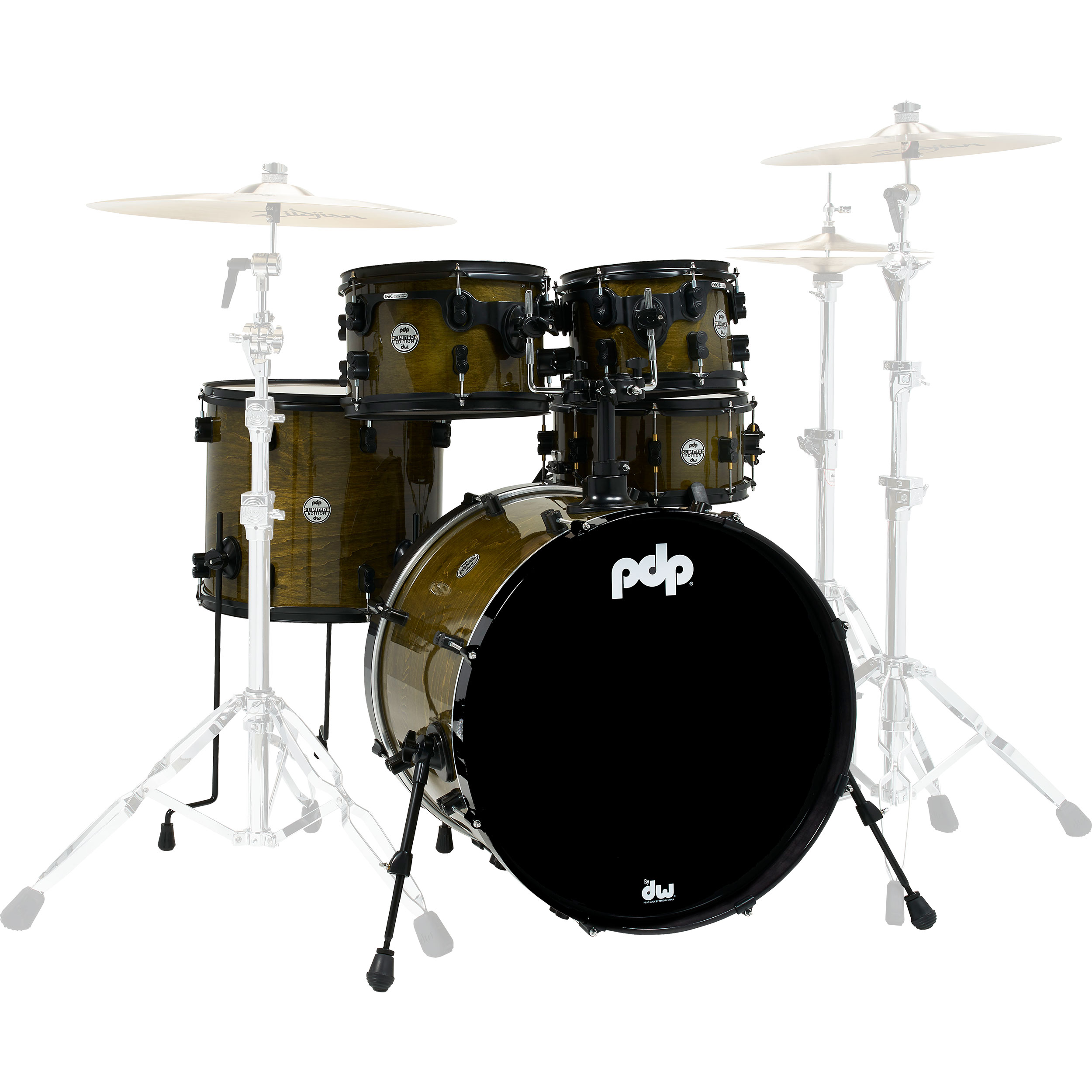 """PDP Limited Edition 5-Piece Drum Set Shell Pack (22"""" Bass, 10/12/16"""" Toms, 13"""" Snare) in Olive Stain Lacquer"""