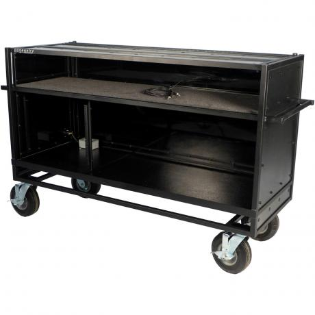 Pageantry Innovations Stealth Series Enclosed Synthesizer Cart with Bi-Fold Top Cover