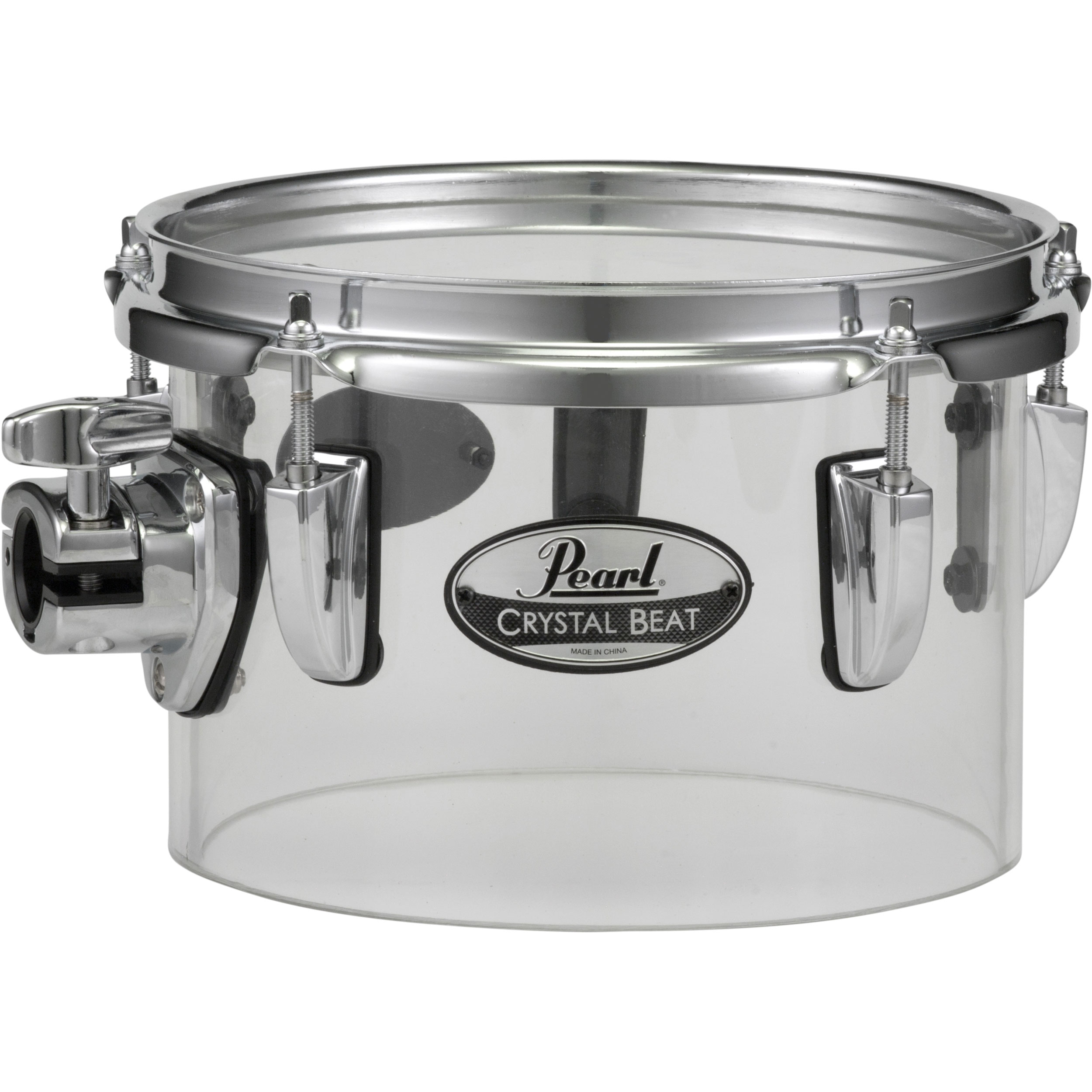 "Pearl 8"" (Diameter) x 5.5"" (Deep) Crystal Beat Single-Headed Concert Tom in Ultra Clear"