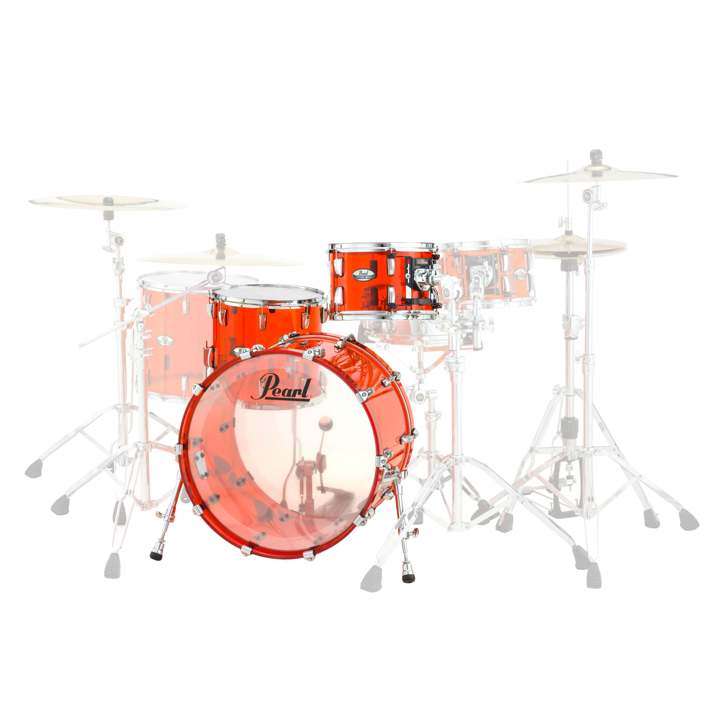 pearl crystal beat 39 one up one down 39 acrylic 3 piece drum set shell pack 20 bass 12 14 toms. Black Bedroom Furniture Sets. Home Design Ideas