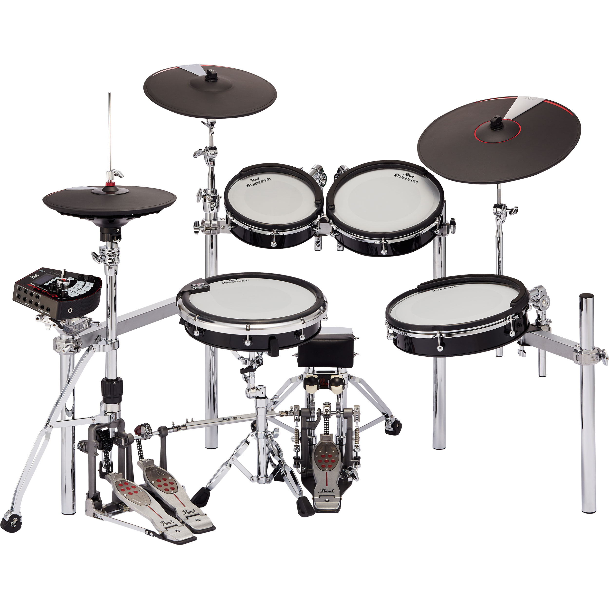 """Pearl e/MERGE 5-Piece Traditional Electronic Drum Set with Hardware and Cymbal Pads (Kick Pad, 10/12/14"""" Toms, and 14"""" Snare Pads)"""