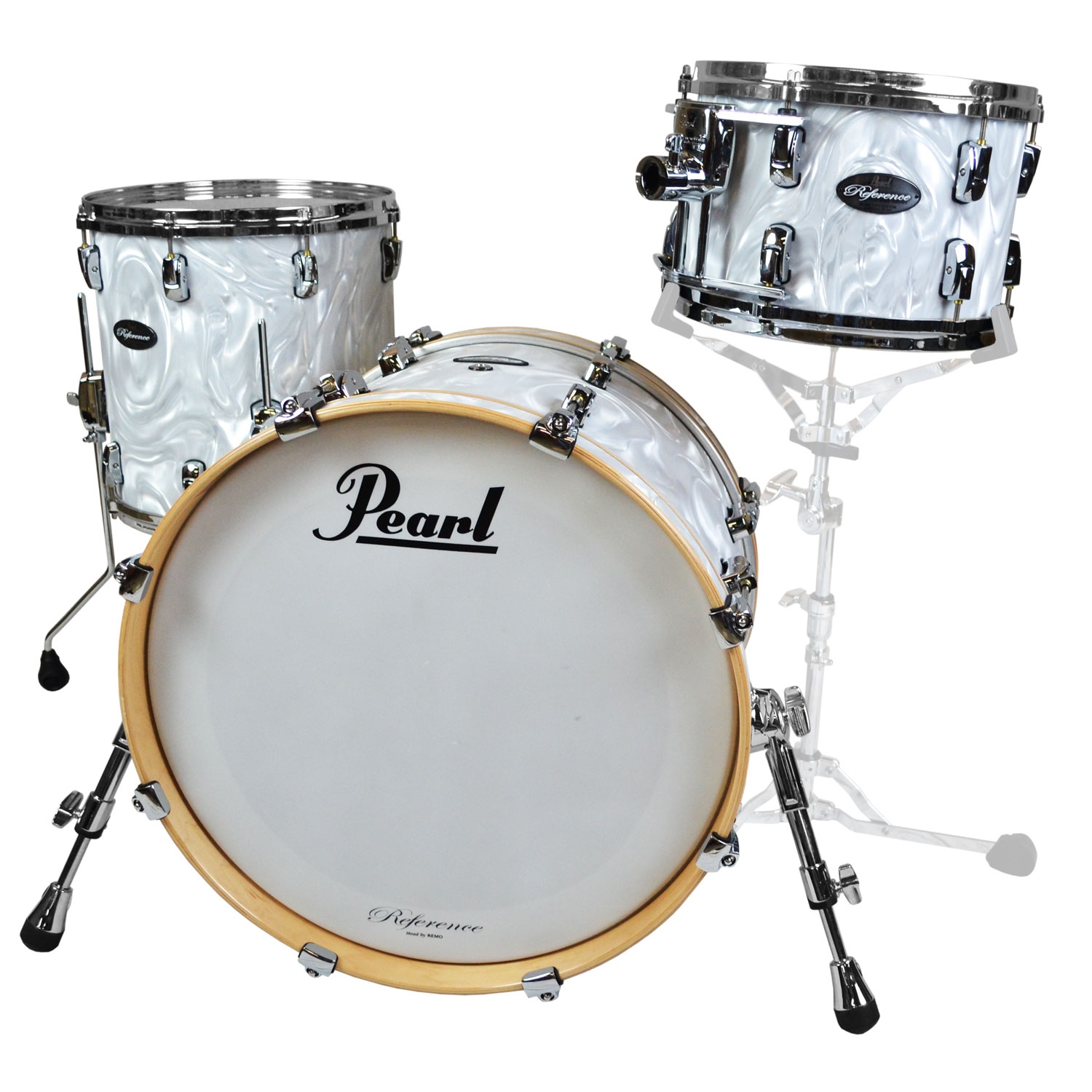 "Pearl Music City Custom Reference 3-Piece Drum Set Shell Pack (20"" Bass, 12/14"" Toms) in White Satin Moire"