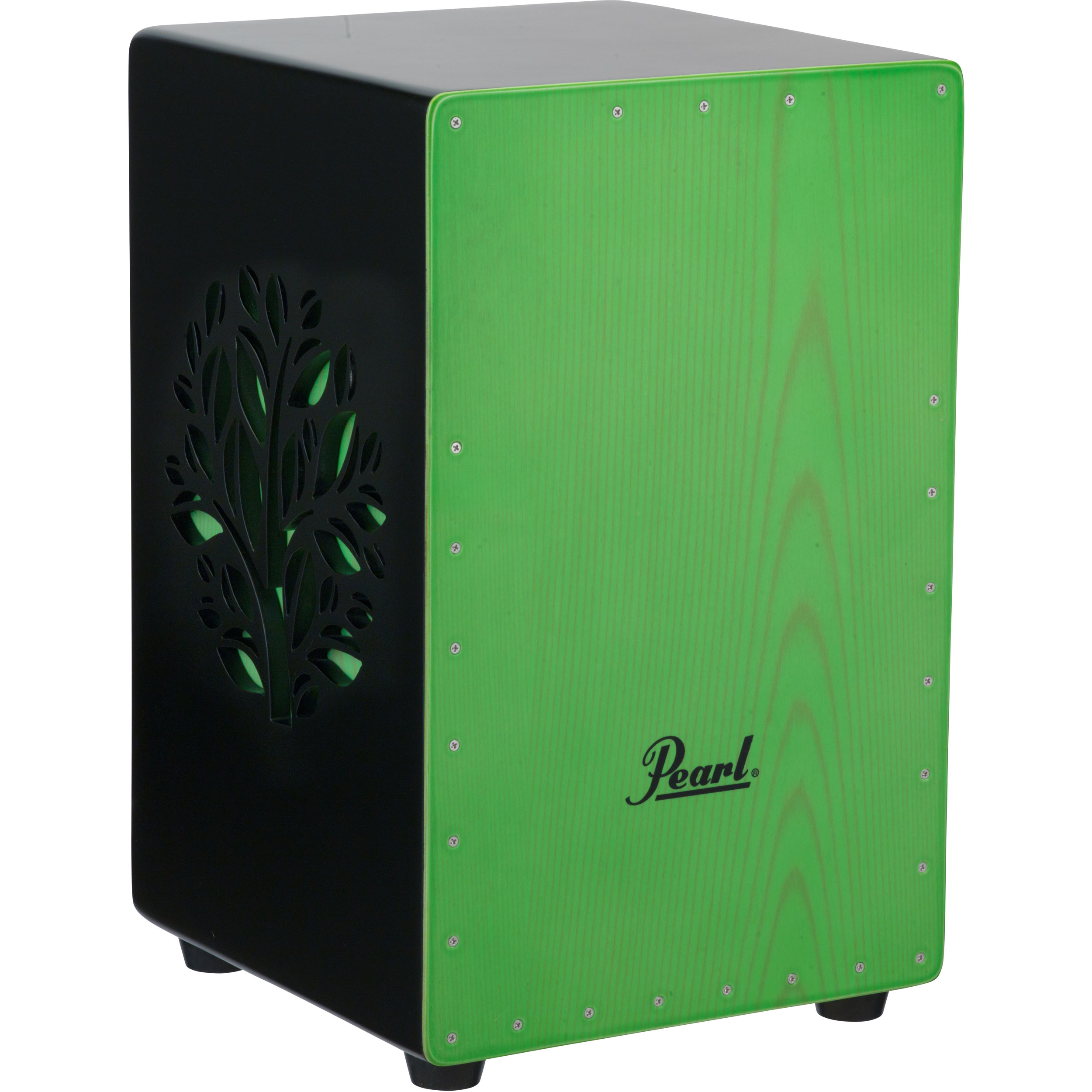 Pearl 3D Cajon with Green Wood Design